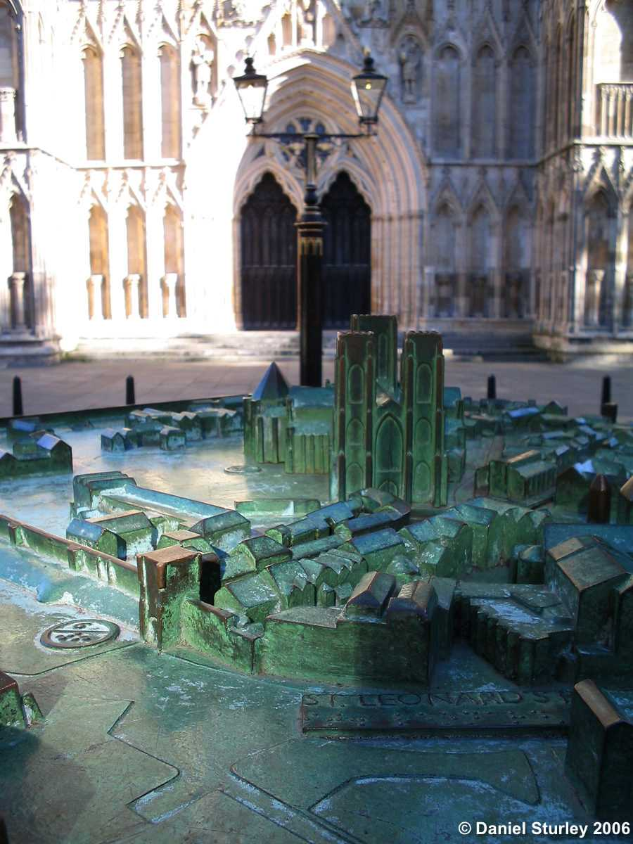 A bronze model of the city nearby, York.